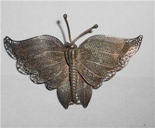 Art Nouveau Deco Butterfly Silver Filigree Brooch Pin Pendant
