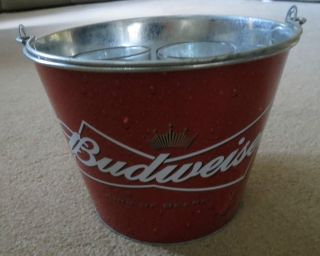 BUDWEISER BUD PUB STYLE BAR METAL BEER ICE BUCKET COOLER / GLASSES