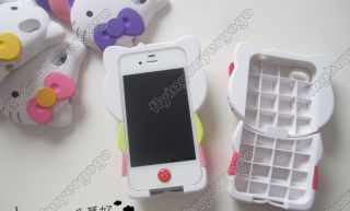3D Purple Pink Hello Kitty Soft Silicone Back Case Cover Skin for