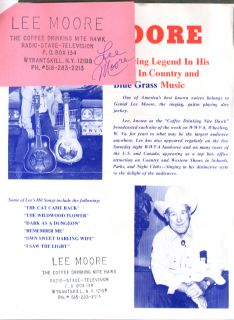 Bluegrass singer Lee Moore SIGNED card & promo release & business card