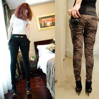 Korean Slim Womens Leopard Print Long Harem Pants Skinny Trousers 2