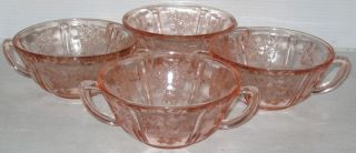 Federal Sharon Cabbage Rose Pink 4 3 4 Cream Soup Bowls
