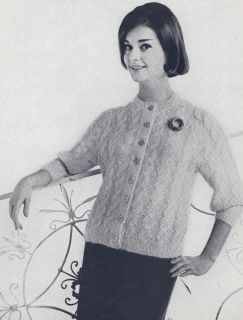 Knitting PATTERN to make 1950s Knitted Mohair Cable Cardigan Sweater