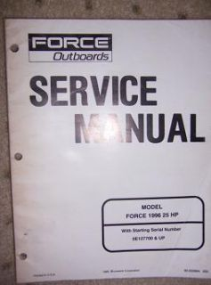 1996 Force Outboard Service Manual 25 HP Mercury E