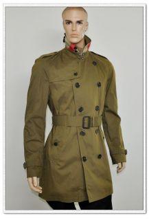 Burberry Brit Mens Nova Check Trench Coat Jacket Military Khaki