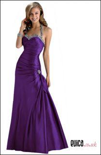 Cadbury Purple Evening Prom Bridesmaid Dress Ball Cruise Gown UK8 22