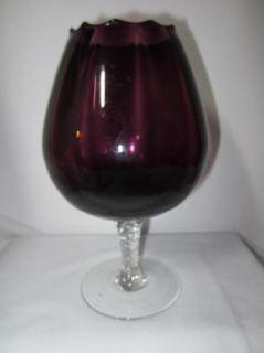 Rose Bowl Brandy Goblet Vase Murano Style Amethyst Purple Art Glass