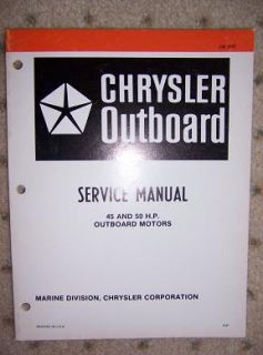 1982 Chrysler Outboard Boat Motor Manual 45 50 HP W