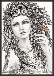 ACEO Original Sketch Card Fairy Tangle™ Steampunk Fairies Pencil Ink