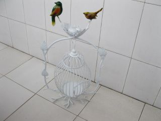 1x White Luxury Hanging Bird Cage Stand Wedding Favor
