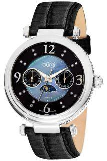 Burgi BUR043BK Diamond Swiss Quartz Strap Womens Watch