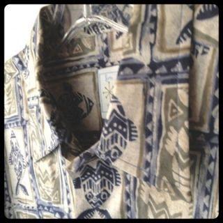 BURMA BIBAS Mens Casual Shirt Medium Fish Print Greens Blues EUC