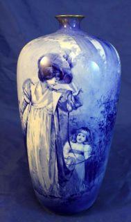 RARE Antique Royal Doulton Blue Children Series Portrait Vase Woman