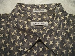 Burma Bibas Mens Large Taupe Blue Ivory Stars Pattern Cotton Casual