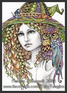 ACEO Original Sketch Card Halloween Witch & Owl Witches Owls Fairy