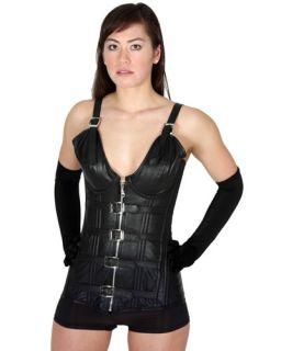 Sexy Steel Busk Strap Corset Black Leather Overbust Dress 80006C Sz 54