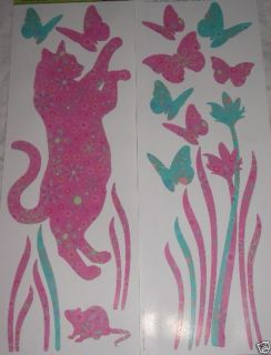New Pink Cat Mouse Butterfly Garden Wall Stickers Decor
