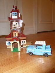 The Burrows Harry Potter Lego Set from set #4840 with Blue Car