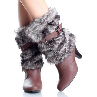 Womens Winter Boots Snow Mukluk Mid Calf Chain Brown Chunky High Heels