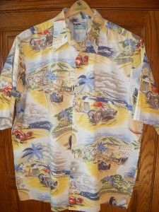 Reyn Spooner Vtg Chevy Ford Hot Rod Beach Racing Car Hawaiian Shirt
