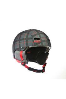 burton snowboard red trace mens snowboard helmet plaid print m