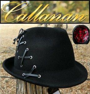 New Callanan Womens Black Wool Leather Laced Ladies Fedora Fashion