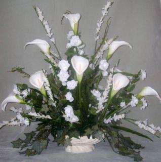 Roses Calla Lily Silk Flower Floral Arrangement Centerpiece