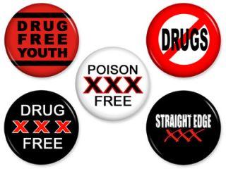 Straight Edge Anti Drug Pins Hardcore Buttons Badges
