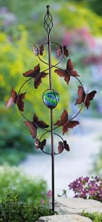 Flying Butterfly Gazing Ball Metal Garden Stake Yard Decor NEW B1320