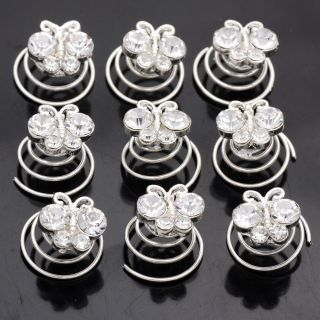 12pc Clear Crystal Butterfly Hair Twists Spins Pins 664