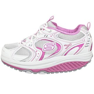 New Skechers Shape UPS Shoes White Silver Pink Size 9