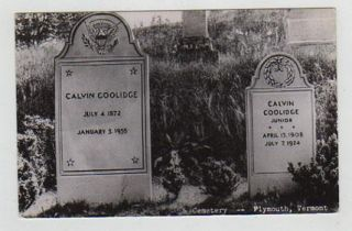 Real Photo Postcard Calvin Coolidge Son Grave Stone