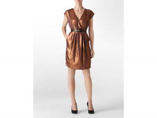 Calvin Klein Womens Metallic Shift Dress