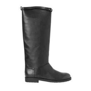 Jil Sander Black Leather Signature Riding Boots NWT 1095 Sz 36