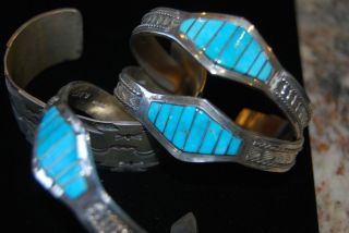 Navajo C Lee Signed Turquoise Stamped Sterling Silver Bracelet Cuff
