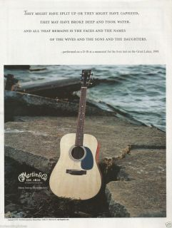 MARTIN GORDON LIGHTFOOT EDMUND FITZGERALD D 18 GUITAR PRINT AD