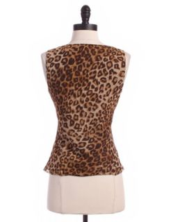 Silk Chiffon Cheetah Print Camisole Sz 8P Top Brown Tank Shirt