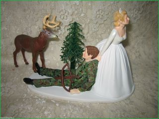 Humorous Camo Wedding Big Buck Deer Bow Arrow Hunter Hunting Cake