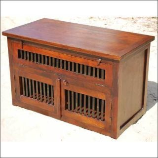 Solid Wood Rustic Shelf LCD TV Media Stand Cabinet Storage