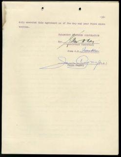 James Cagney Vintage 1956 RARE Original Signed Paramount Agreement