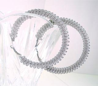 New Guess Silver Coiled Mesh Hoop Earrings