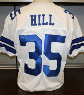 CALVIN HILL Autographed Dallas Cowboys White Jersey Authenticated by