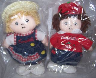 Campbell Soup Kid Country Bean Dolls Set 2 2000 NIP