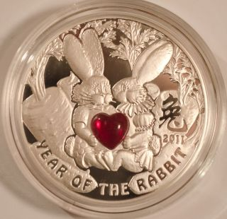 Year of the Rabbit   Bunnies Chinese Calendar Proof Silver Coin 2010 $
