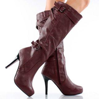 Hidden Platform Stiletto High Heel Mid Calf Dress Boots 7