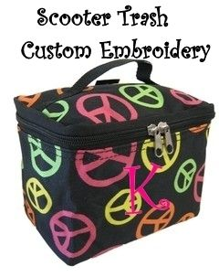 Cosmetic Case Makeup Bag Damask Black with Multi Color Peace Signs