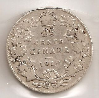 1910 Canada Canadian Silver 25 Cent Coin