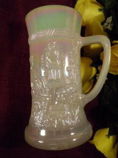 Milk Glass Federal Iridescent Glass TAVERN SCENE Beer Stein Mug Bar