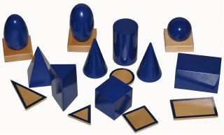 Montessori Material WOODEN GEOMETRIC SOLIDS with STANDS & STORAGE BOX