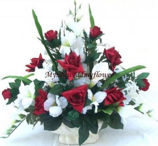 Roses and Calla Lily Silk Flower Floral Arrangement Centerpiece